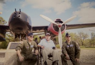 "Bob Kehres, 102, of Magnolia (middle) at October's Dyess AFB reunion near Abilene, Texas, with two current Air Force pilots and a Douglas A-20 ""Havoc"" bomber."