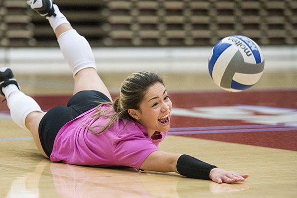Arkansas senior libero Okiana Valle goes through practice Wednesday, Nov. 7, 2018, at Barnhill Arena in Fayetteville.