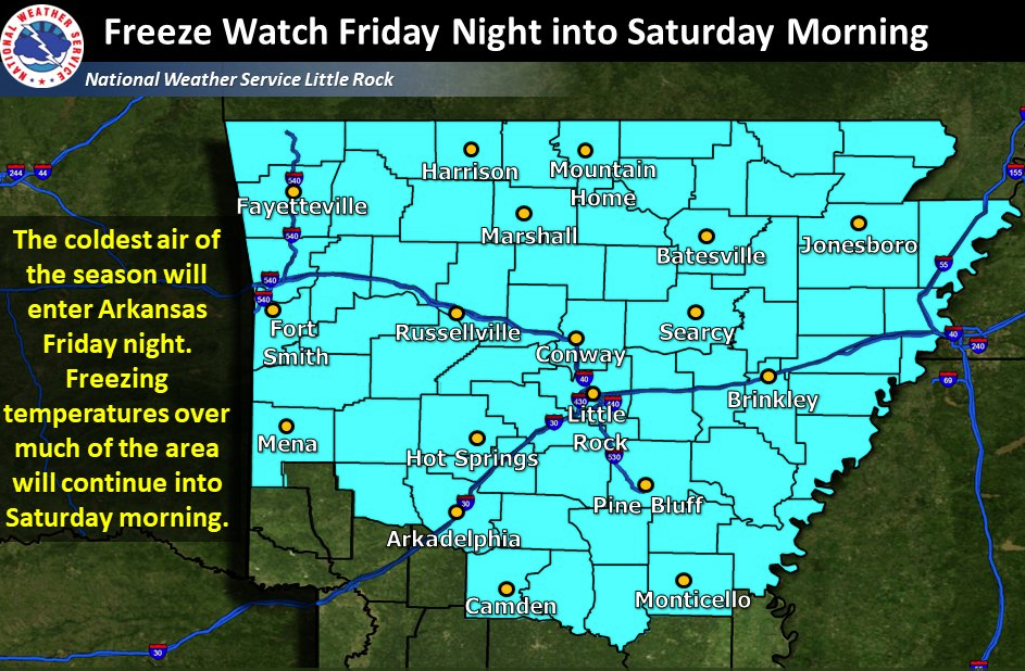 A freeze watch has been issued for most of Arkansas for Friday night into Saturday morning.