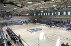 View from above the playing floor in Soto Gym on Fort Bliss, host of the 2018 Armed Forces Classic.