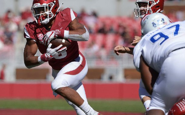 NWA Democrat-Gazette/J.T. WAMPLER Arkansas' Rakeem Boyd looks for running room against Tulsa Saturday Oct. 20, 2018 at Donald W. Reynolds Razorback Stadium in Fayetteville. The Razorbacks beat the Golden Hurricane 23-0.