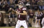 Mississippi State quarterback Nick Fitzgerald (7) prepares to pass during the first half of their NCAA college football game against Louisiana Tech on Saturday, Nov. 3, 2018, in Starkville, Miss. (AP Photo/Jim Lytle)