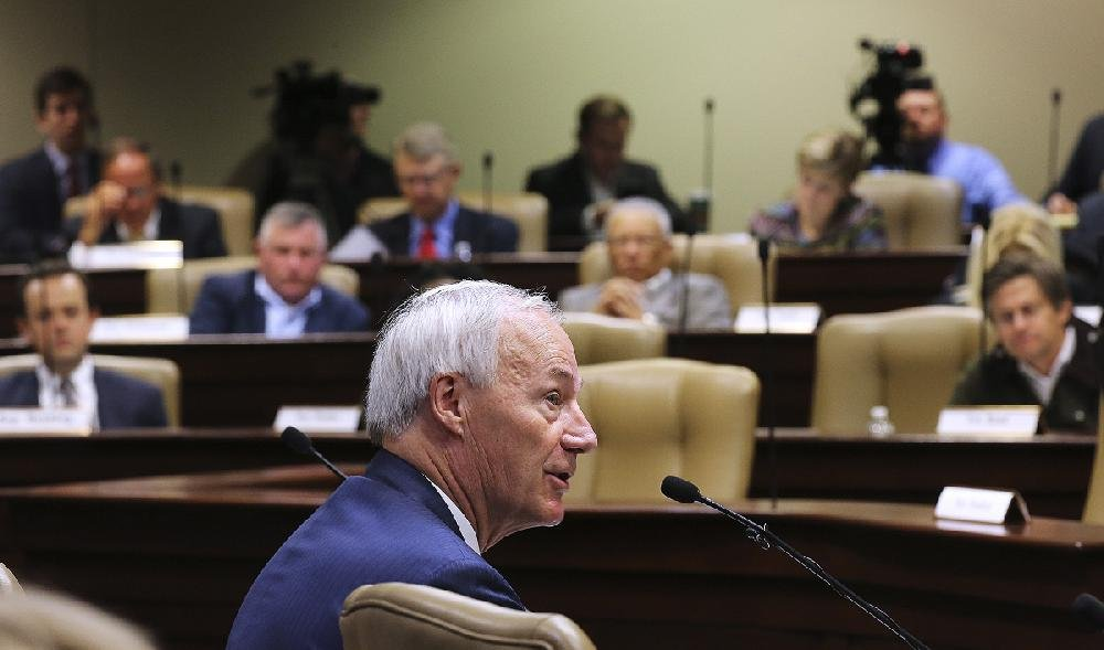 Gov. Asa Hutchinson presents his fiscal 2020 budget proposal Wednesday during a joint meeting of the Legislative Council and Joint Budget Committee.
