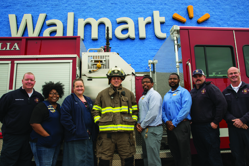 Pictured L R Are MFD Assistant Chief Randal Stevens Walmart Personnel Manager Tonya Smith Training Coordinator Pam Willis Lt Mark Hudgins
