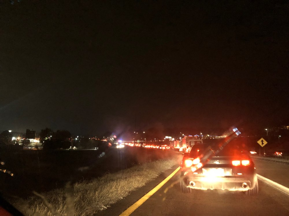 Traffic stalled on the Interstate 40 on-ramp in North Little Rock because of multiple wrecks caused by winter weather Wednesday night.