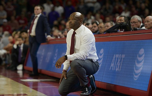 Arkansas coach Mike Anderson watches from the sideline during a game against Indiana on Sunday, Nov. 18, 2018, in Fayetteville.