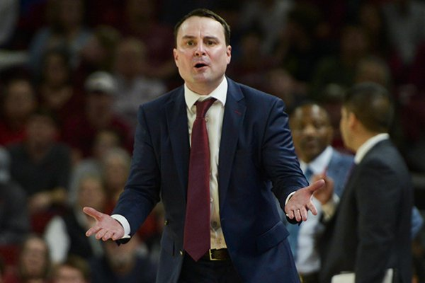 Indiana coach Archie Miller argues a call during a game against Arkansas on Sunday, Nov. 18, 2018, in Fayetteville.