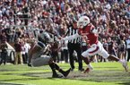 Arkansas safety Kamren Curl (2) defends a Mississippi State receiver on an incomplete pass Saturday, Nov. 17, 2018, in Starkville, Miss.