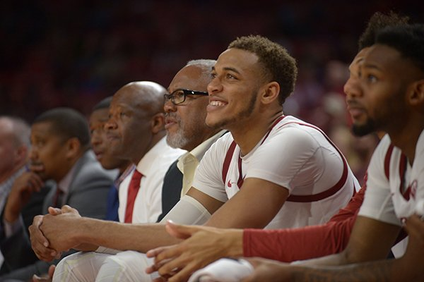 Arkansas forward Daniel Gafford (10) watches from the bench during a game against Texas-Arlington on Friday, Nov. 23, 2018, in Fayetteville.