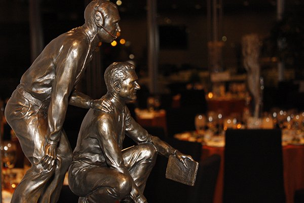 FILE — The Broyles Award is shown during a ceremony Monday, Dec. 9, 2013, in Little Rock.