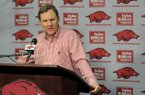 Arkansas coach Chad Morris speaks to reporters during a news conference Thursday, Nov. 29, 2018, in Fayetteville.