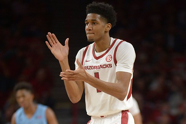 Arkansas guard Isaiah Joe is shown during a game against Florida International on Saturday, Dec. 1, 2018, in Fayetteville.