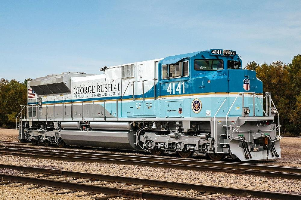 UP No. 4141, a special locomotive honoring the late President George H.W. Bush, left North Little Rock's Union Pacific maintenance facility Saturday, bound for Spring, Texas. It will pull Bush's funeral train from Spring to College Station, Texas, as part of the former president's funeral.