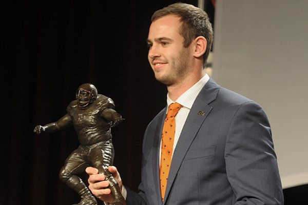 Hunter Renfrow, wide receiver at Clemson University, receives Monday, December 3, 2018, the 2018 Burlsworth Trophy at the Northwest Arkansas Convention Center in Springdale. The national award is named after Brandon Burlsworth, a former walk-on at the University of Arkansas, and honors the athletic accomplishments of the walk-on student athlete.