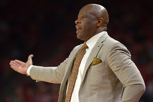 Arkansas coach Mike Anderson directs his players against Florida International Saturday, Dec. 1, 2018, during the second half of play in Bud Walton Arena. Visit nwadg.com/photos to see more photographs from the game.