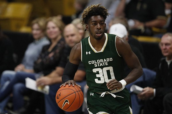 Colorado State Rams guard Kris Martin (30) in the first half of an NCAA college basketball game Saturday, Dec. 1, 2018, in Boulder, Colo. (AP Photo/David Zalubowski)