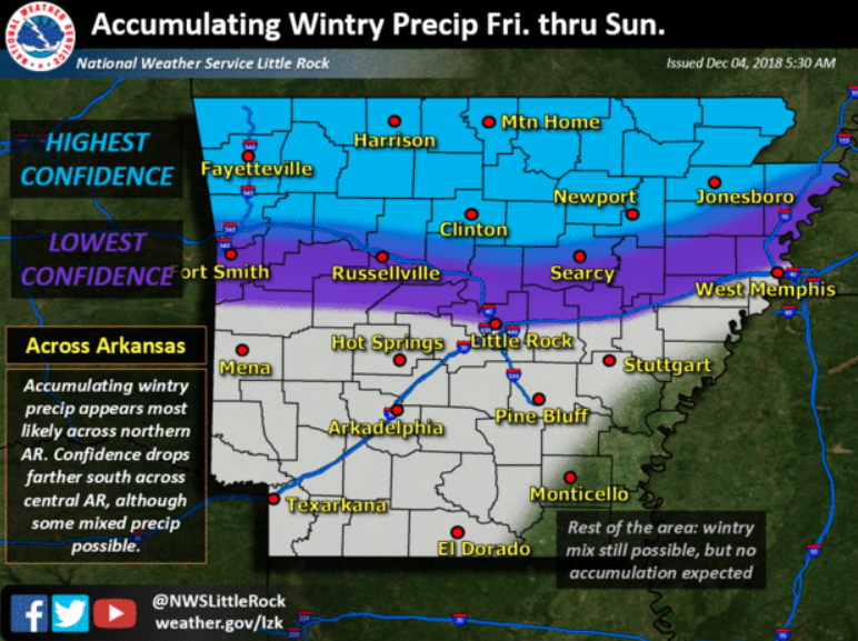 This National Weather Service graphic details the confidence forecasters have in different parts of the state seeing accumulating wintry weather this weekend.