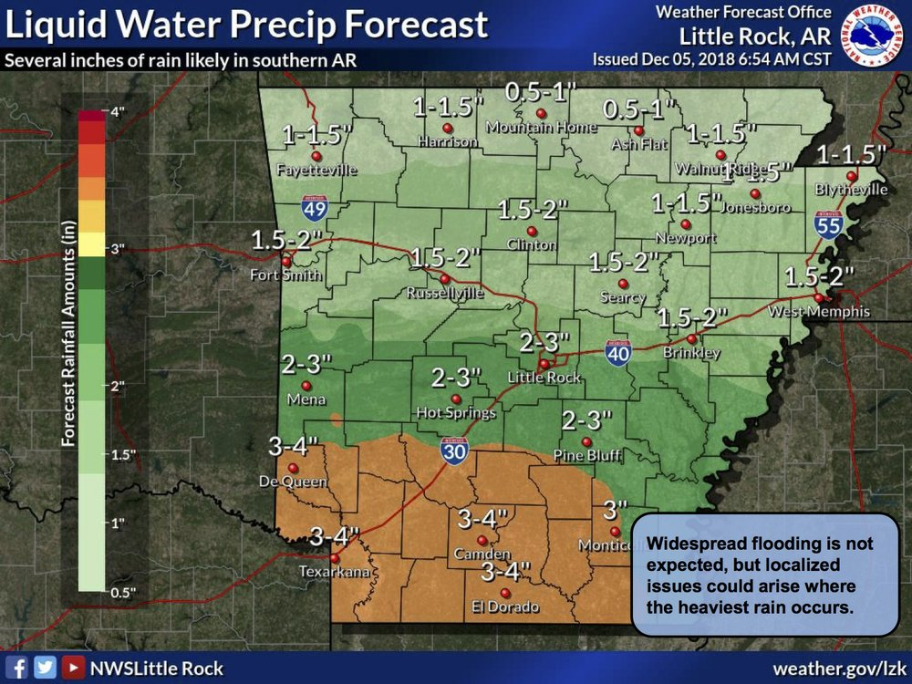 The National Weather Service projected rainfall amounts across the state for this weekend.
