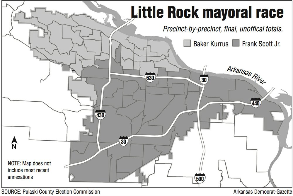Little Rock mayoral race map