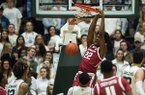 Arkansas forward Gabe Osabuohien (22) dunks on Colorado State during an NCAA college basketball game, Wednesday, Dec. 5, 2018, in Fort Collins, Colo. (Timothy Hurst/The Coloradoan via AP)