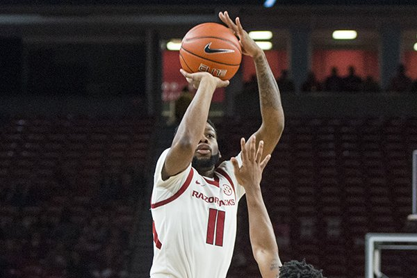 Keyshawn Embery-Simpson of Arkansas shoots in the first half vs Tusculum Friday, Oct. 26, 2018, during an exhibition game in Bud Walton Arena in Fayetteville.