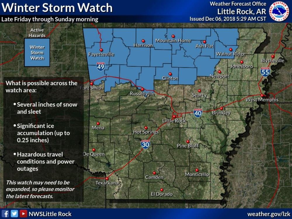 Interstate Travel Weather Map.Winter Storm Watch Set For Parts Of The State Snow Ice Also