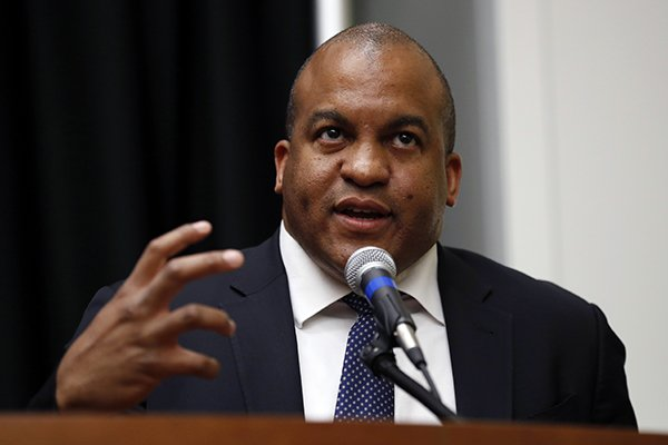 In this May 30, 2017, file photo, NBA G League President Malcolm Turner speaks during a news conference in Des Moines, Iowa. Vanderbilt has hired NBA G League President Malcolm Turner as its new athletic director, going with a business executive over candidates with experience in college athletic administration for the Southeastern Conference's only private university. (AP Photo/Charlie Neibergall, File)