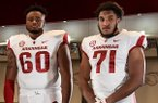Chibueze Nwanna (left) and Myron Cunningham have committed to play for Arkansas in 2019.