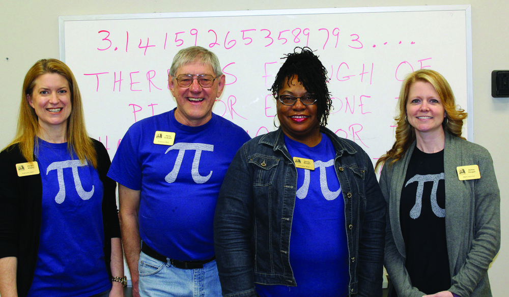 Culbreth with other SouthArk math faculty on Pi Day (March 14) 2017. Contributed photo