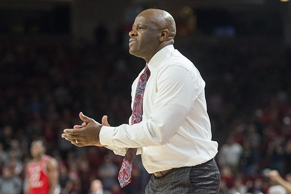 Mike Anderson, Arkansas head coach, in the second half vs Western Kentucky Saturday, Dec. 8, 2018, at Bud Walton Arena in Fayetteville.