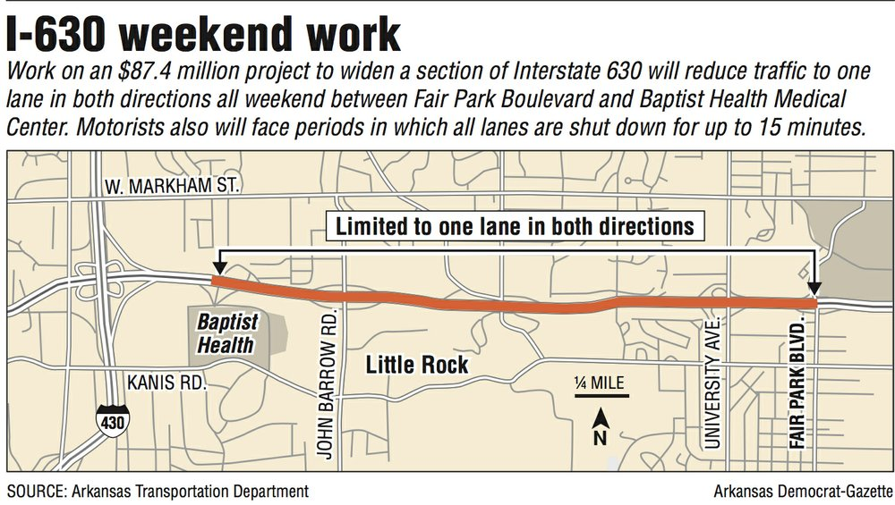 A map showing I-630 weekend work.