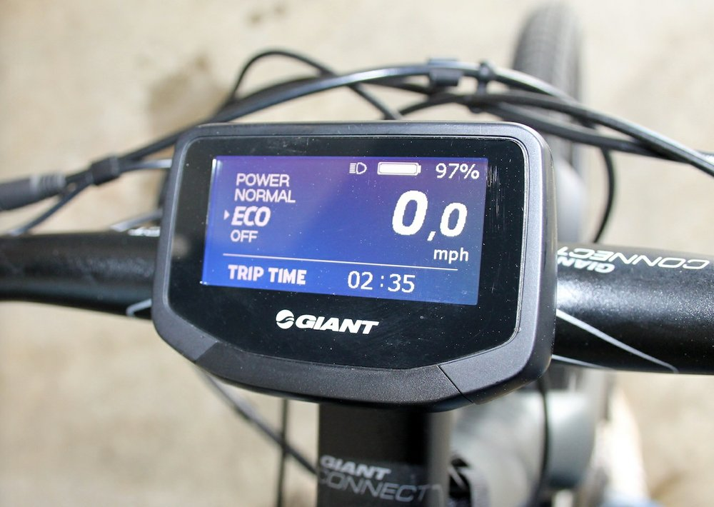 The display on Regina Seelinger's e-bike shows battery life, riding mode and other data. (Arkansas Democrat-Gazette/SEAN CLANCY)