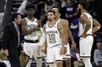 Georgia Tech head coach Josh Pastner, left, talks to his team during the second half of an NCAA college basketball game against Northwestern, Wednesday, Nov. 28, 2018, in Evanston, Ill. Northwestern won 67-61. (AP Photo/Nam Y. Huh)