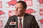 Arkansas coach Chad Morris speaks Wednesday, Dec. 19, 2018, during a press conference to announce the players who signed to play for Arkansas.