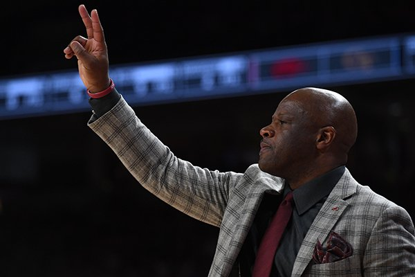 Arkansas coach Mike Anderson is shown during a game against Georgia Tech on Wednesday, Dec. 19, 2018, in Fayetteville.