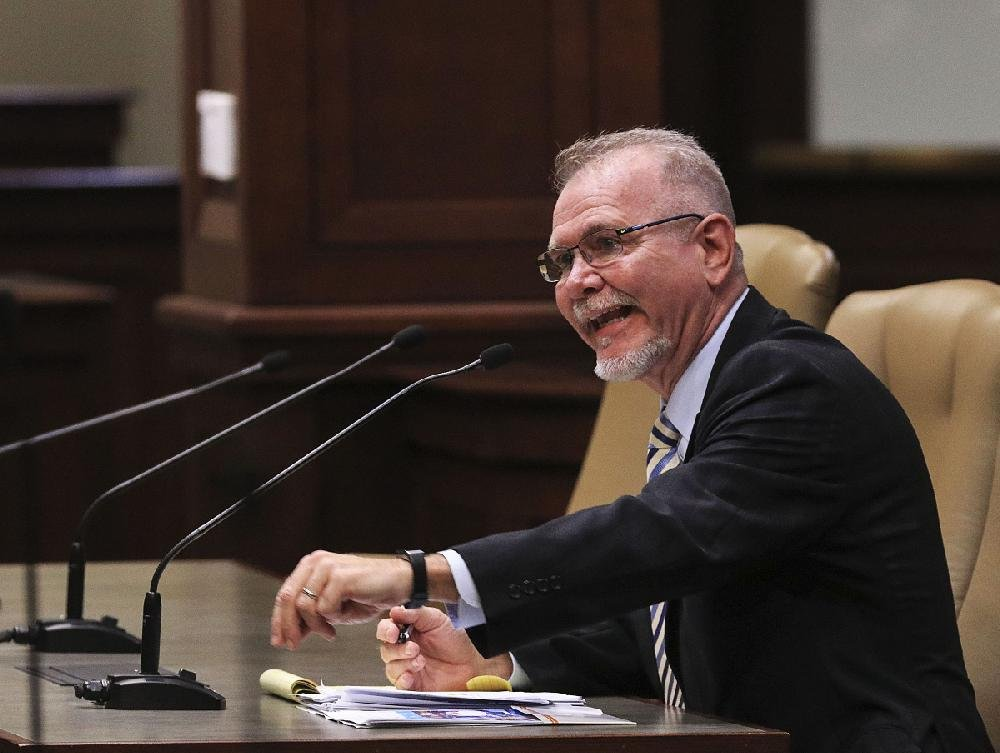 """Doug White, interim general manager and president of the Arkansas Livestock Show Association, told lawmakers Friday that he and others were """"looking at every single line item"""" to avoid costly mistakes.  Hammer"""