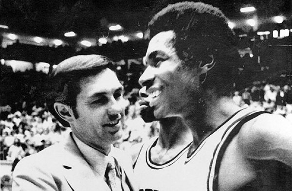 ADG file photo 3/18/78 Eddie Sutton, coach of the Arkansas Razorbacks congratulates Marvin Delph, forward, after they defeated Cal State Fullerton 61-58 in the NCAA Far Western Championship at Albuquerque, N.N.