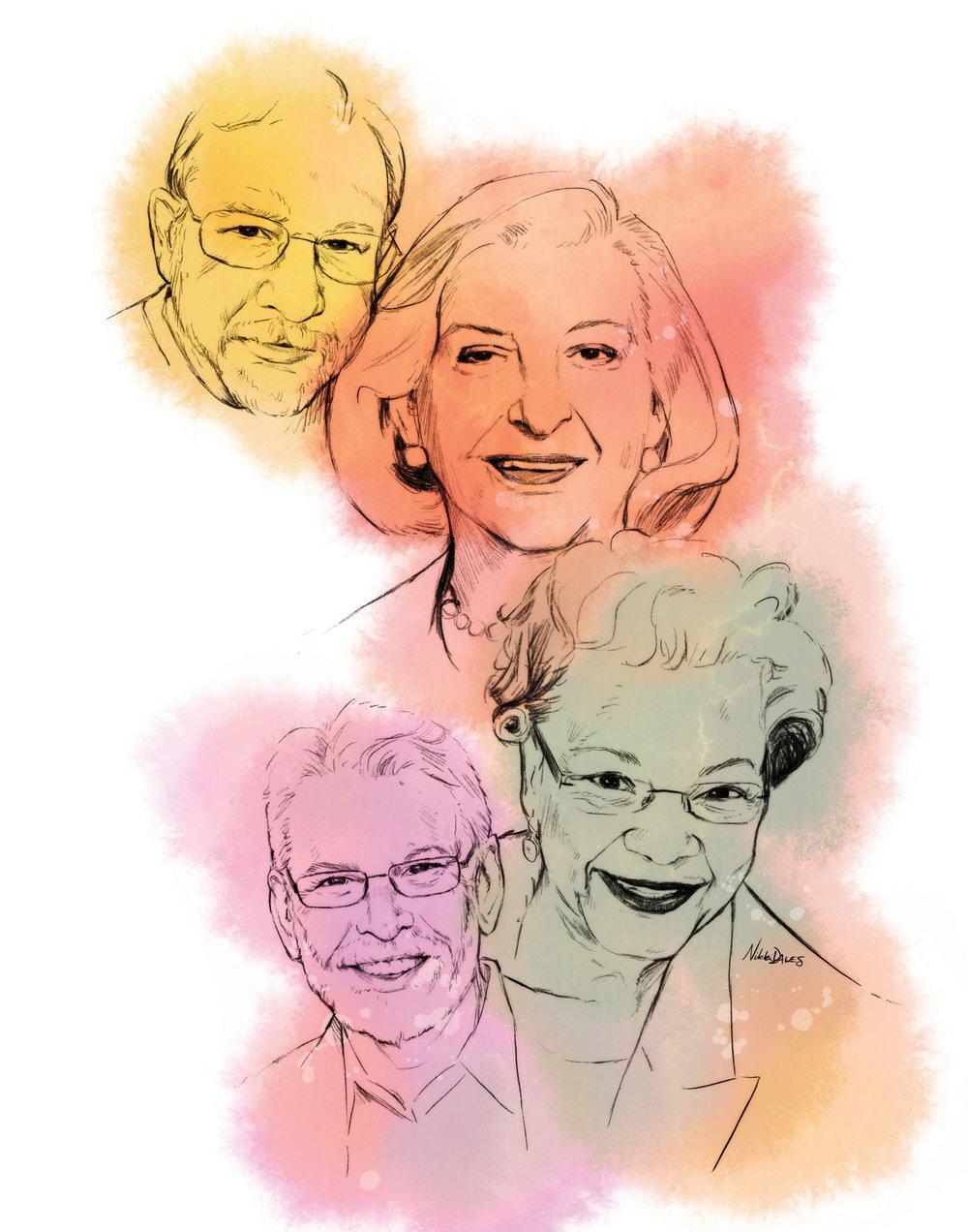 An Arkansas Democrat-Gazette illustration showing Michael Storey  (clockwise  from  top), Betty Bumpers, Raye  J. Montague and Cliff Fannin Baker.