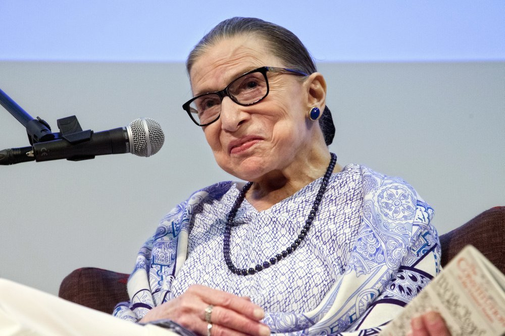 """In this July 5 file photo, US Supreme Court Justice Ruth Bader Ginsburg speaks after the screening of """"RBG,"""" the documentary about her, in Jerusalem. Days after her injuring three ribs from a fall, the 85-year-old Supreme Court justice is back on the job, capping a year in which she's emerged as a true pop culture heroine. Already in the spotlight for """"RBG,"""" the documentary in which she's shown doing pushups among other things, she's also the subject of a popular SNL rap video, and by year's end a new feature film, """"On the Basis of Sex."""" (AP Photo/Caron Creighton, File)"""