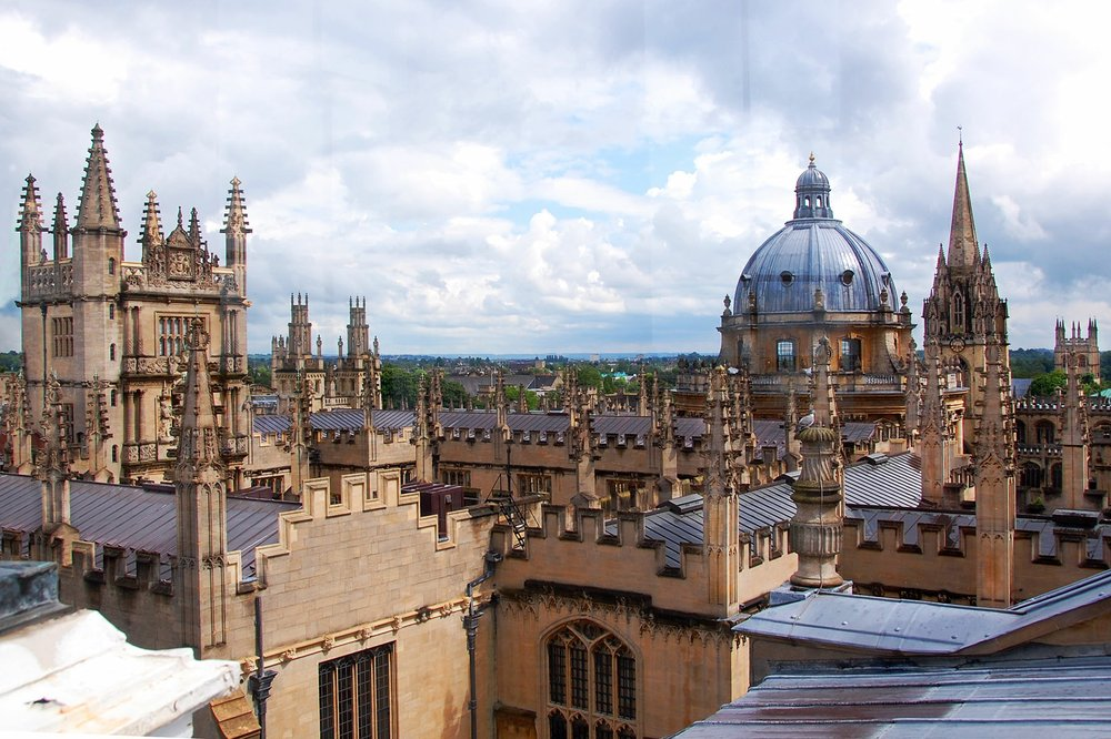 Oxford's skyline is peppered with spires and domes from its venerable colleges.