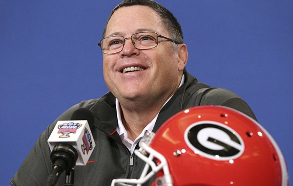 Georgia's offensive coordinator Jim Chaney takes questions during a news conference for the Sugar Bowl NCAA college football game against Texas on Sunday, Dec 30, 2018, in New Orleans. (Curtis Compton/Atlanta Journal-Constitution via AP)