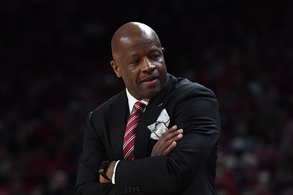 Arkansas head coach Mike Anderson during Arkansas' 57-51 loss to Florida, Wednesday Jan. 9, 2019 at Bud Walton Arena in Fayetteville.