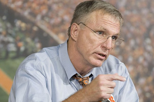 Clemson University athletic director Terry Don Phillips answers questions about Tommy Bowden's departure from the head football coaching position at Clemson during a press conference in Clemson, S.C., Monday, Oct. 13, 2008. (AP Photo/Patrick Collard)