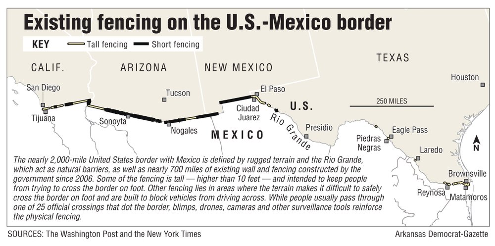 A map showing existing fencing on the U.S.-Mexico border