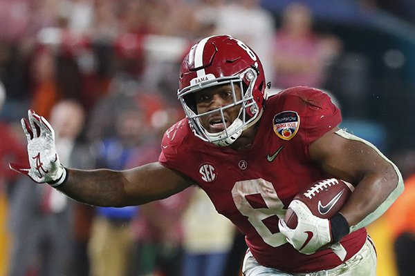 Alabama running back Josh Jacobs (8) run the ball, during the second half of the Orange Bowl NCAA college football game, Sunday, Dec. 30, 2018, in Miami Gardens, Fla. Alabama defeated Oklahoma 45-34. (AP Photo/Wilfredo Lee)