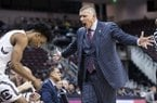 South Carolina coach Frank Martin yells at A.J. Lawson during the first half of the team's NCAA college basketball game against Mississippi State on Tuesday, Jan. 8, 2019, in Columbia, S.C. (AP Photo/Sean Rayford)