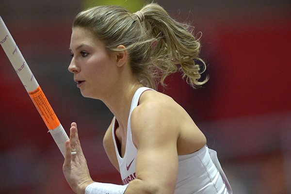 Arkansas' Tori Hoggard competes in the pole vault invitational Saturday, Feb. 10, 2018, during the Tyson Invitational in the Randal Tyson Track Center in Fayetteville.