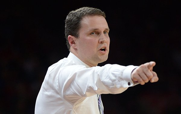 LSU coach Will Wade directs his players against Arkansas Friday, Jan. 11, 2019, during the first half of play in Bud Walton Arena in Fayetteville. Visit nwadg.com/photos to see more photographs from the game.