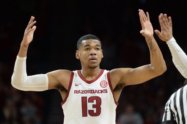 Arkansas' Mason Jones gestures during a game against LSU on Saturday, Jan. 12, 2019, in Fayetteville.