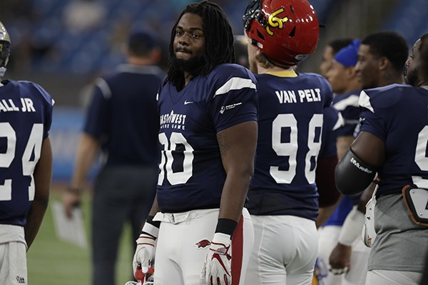 West defensive lineman Armon Watts (90), of Arkansas, during the first half of the East West Shrine football game Saturday, Jan. 19, 2019, in St. Petersburg, Fla. (AP Photo/Chris O'Meara)